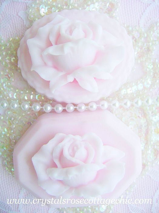 Pair of  Shabby Pink Chic Rose Decorative Soaps