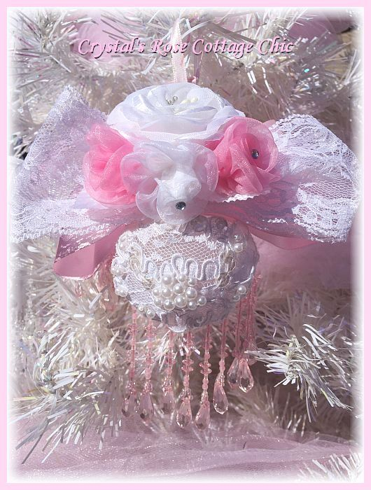 Shabby Chic Pink & White Roses Lace Bows Victorian Christmas Ornament