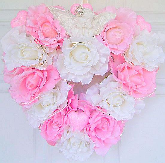 Romantic Pink Rose Heart Wreath