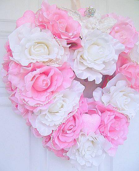 Romantic Pink Rose Heart Wreath