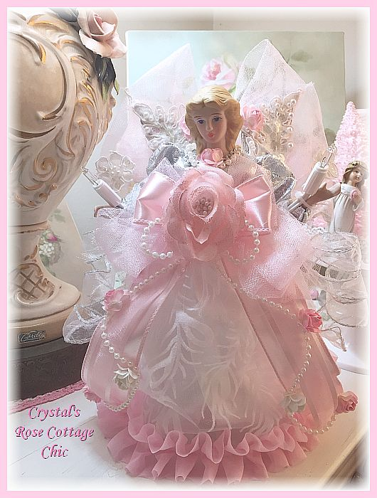 Shabby Pink Rose Ruffle Angel Tree Topper