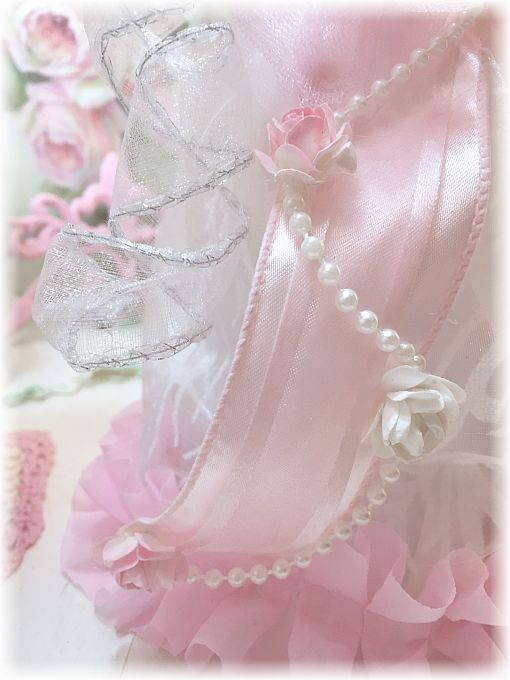Shabby Pink Rose Ruffle Angel Tree Topper