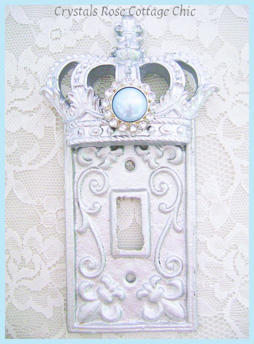 Silver Crown Fleur de Lis Switch Plate Cover...Color Choices