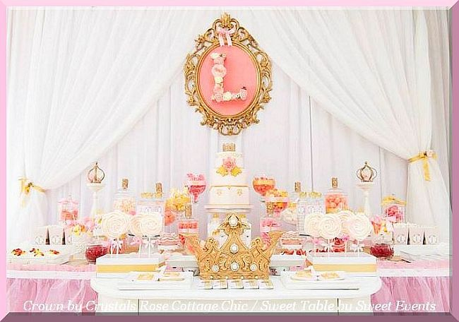 Princess Party First Birthday Gold Crown Decor Sweet / Dessert Table