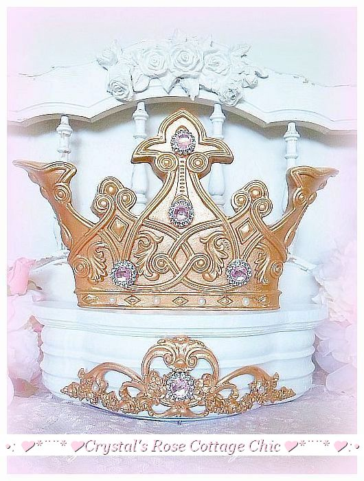 Royal Elegance White and Gold Princess Bed Crown with Free Sheers...Color Options