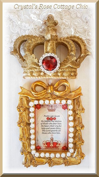 Psalm 145 Red Rose Crown Ornament...Free Shipping