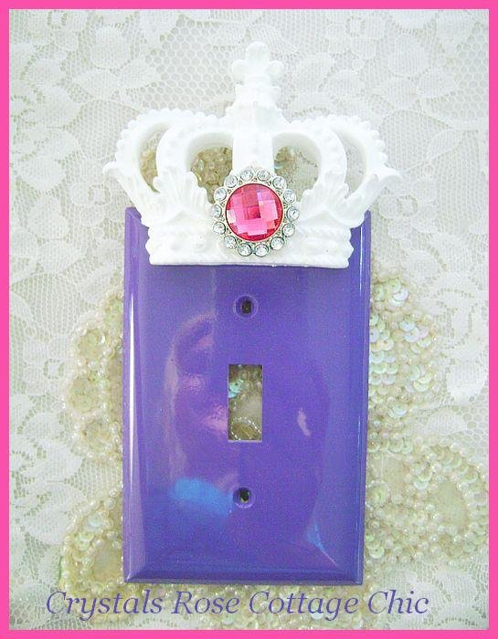 Purple Switchplate Cover with White Crown and Hot Pink Rhinestone