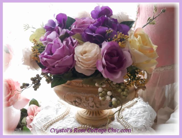 Purple Ivory Roses Vintage Gold Cherub Centerpiece