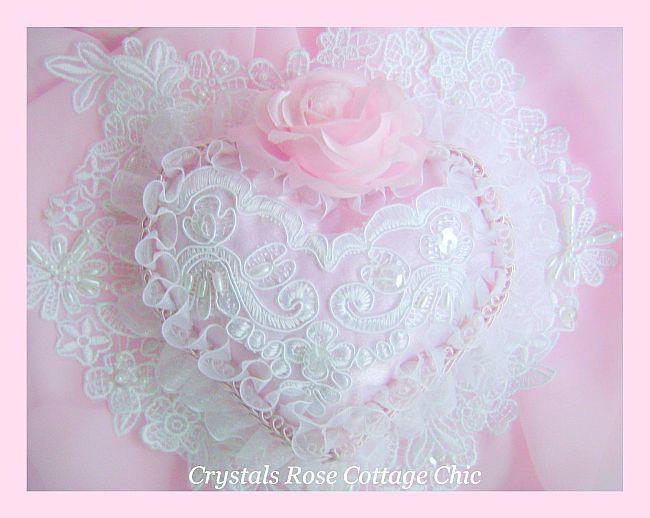 Romantique Victorian Pink Satin Heart
