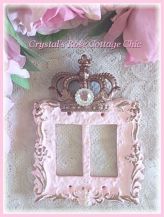 Fleur de Lis Crown Victorian Rose Double Rocker Wall Plate...Color Choices