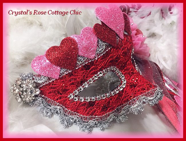 Pink & Red Rosette Heart Mask
