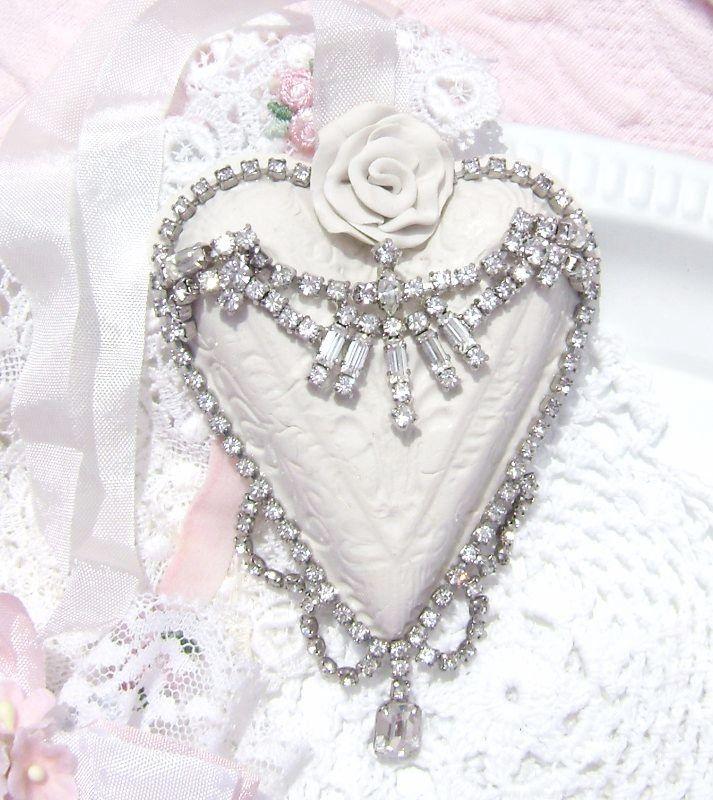 Shabby White Rose Vintage Charm Heart Ornament