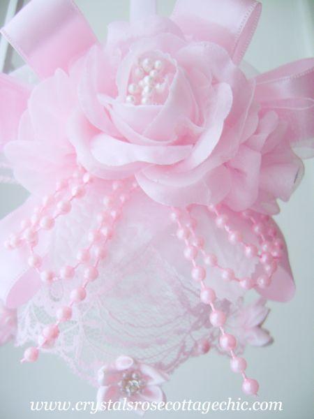 Romantic Pink Rose and Rhinestone Ornament