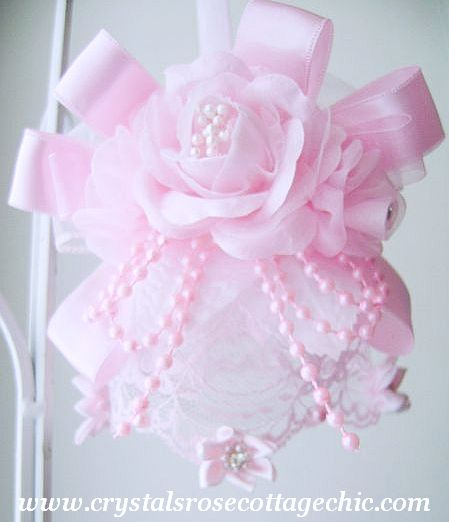 Romantic Pink Rose and Rhinestone Ornament