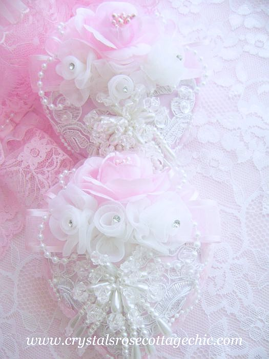 Romantique Victorian White Pearl Heart Ornament