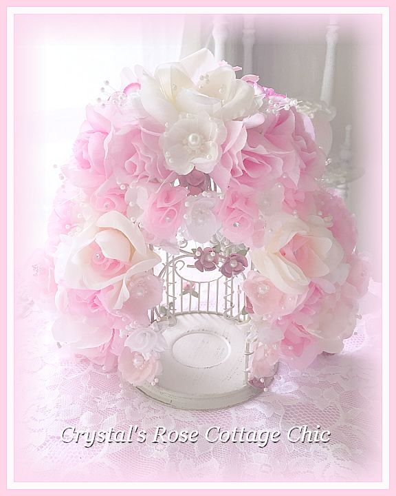 Romantic Pink Rose Pearl Spray Bird Cage