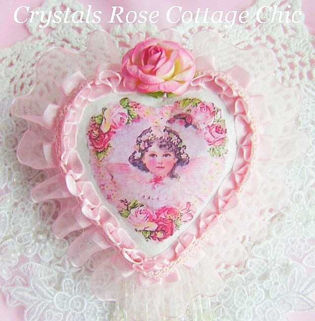 Romantic Cherub Rose Heart Ornament