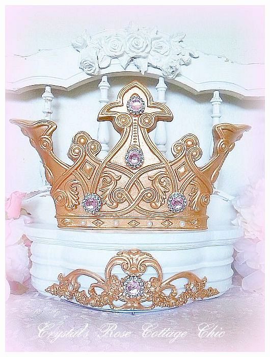 Royal Elegance White and Gold Bed Crown Canopy..Color Choices
