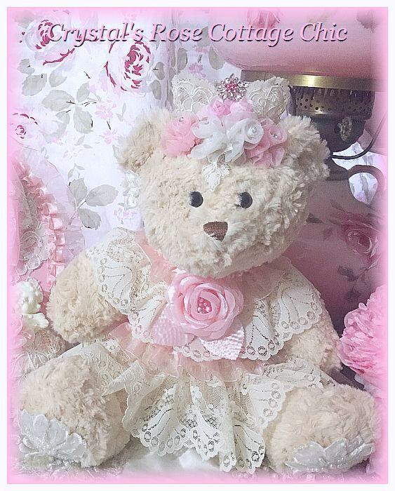 Shabby Pink Rose & Lace Princess Bear