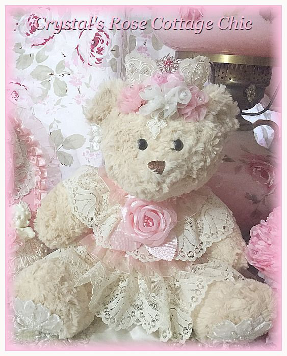 Shabby Pink Rose & Lace Princess Bear