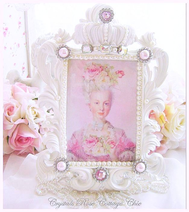 Shabby Pink Bling White Crown Frame