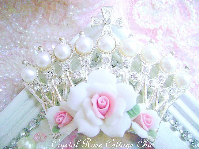 Shabby Cottage White Crown Jeweled Frame