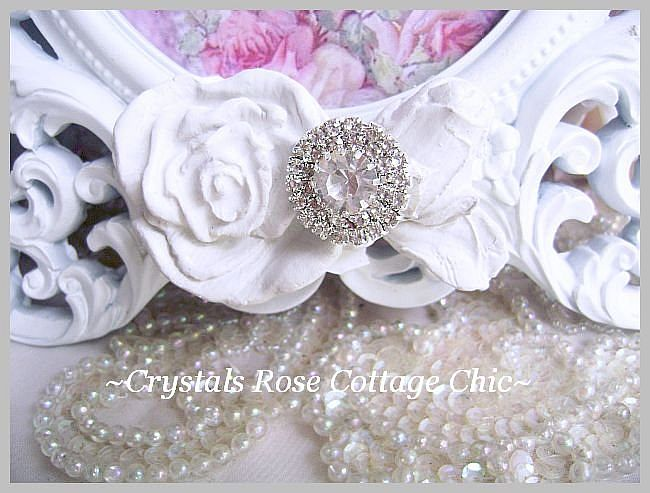 Shabby Roses and Crystal Rhinestones White Oval Frame