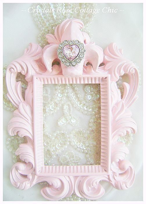 Petite Shabby Pink Fleur De Lis Frame...Color Choices