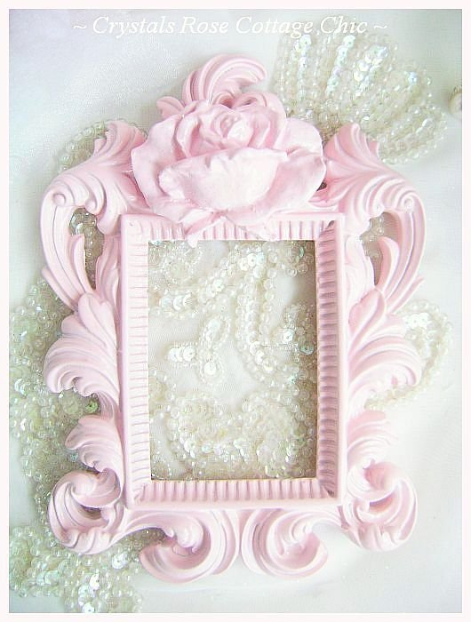 Small Shabby Pink Rose Frame