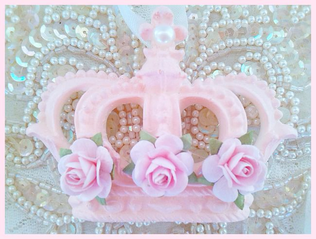 Shabby Pink Rose Princess Crown Ornament...Free Shipping