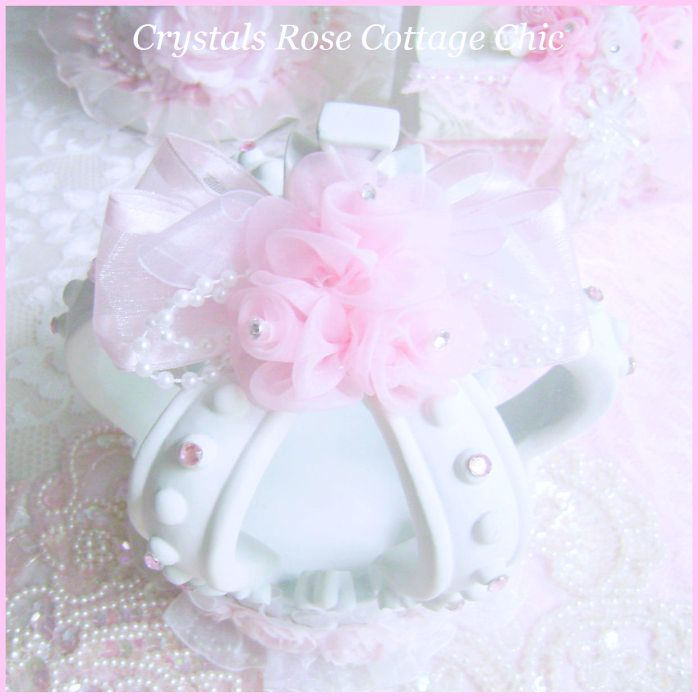 Shabby Pink Rose White Crown
