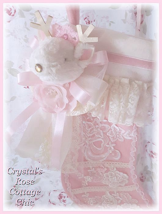 Shabby Chic Pink Deer Stocking...Free Shipping