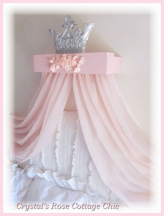 Silver Bed Crown  with Pink Rose Canopy Teester...Color Choices