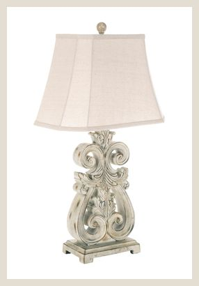 Scroll Lamp with Distressed Finish