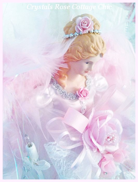 "Shabby Pink Rose 21"" Angel Tree Topper"