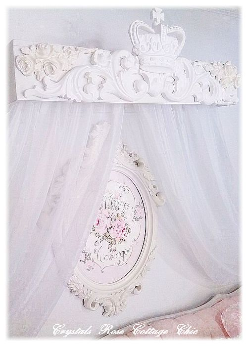 Shabby Chic Crown and Roses Teester Canopy..Color Choices