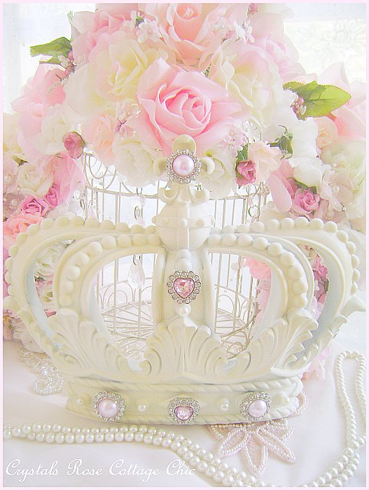 French Ivory Fleur de Lis Wall / Bed Crown Pink Bling....Color Choices