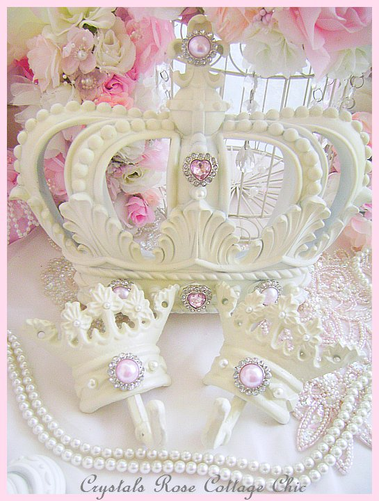 Shabby Chic French Ivory Pink Bling Bed Crown Canopy Set