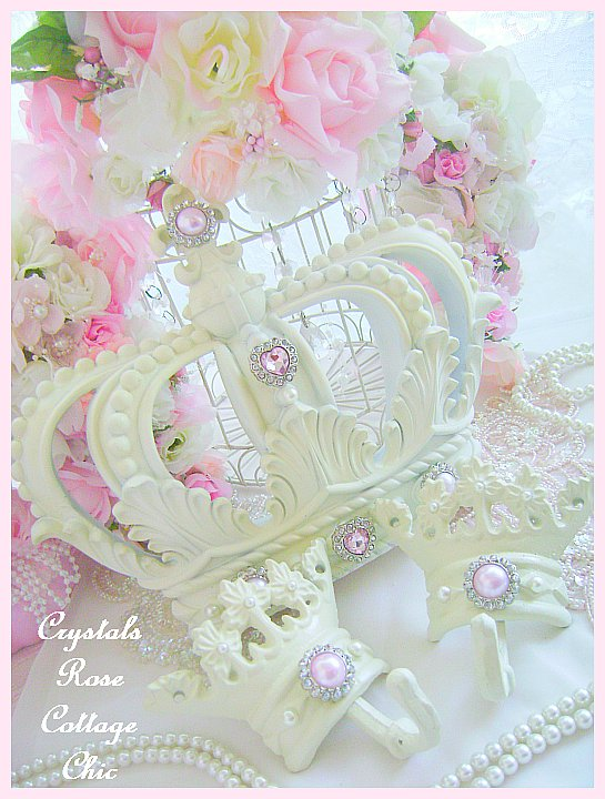 Shabby Pink Chic French Ivory Bed Crown Set