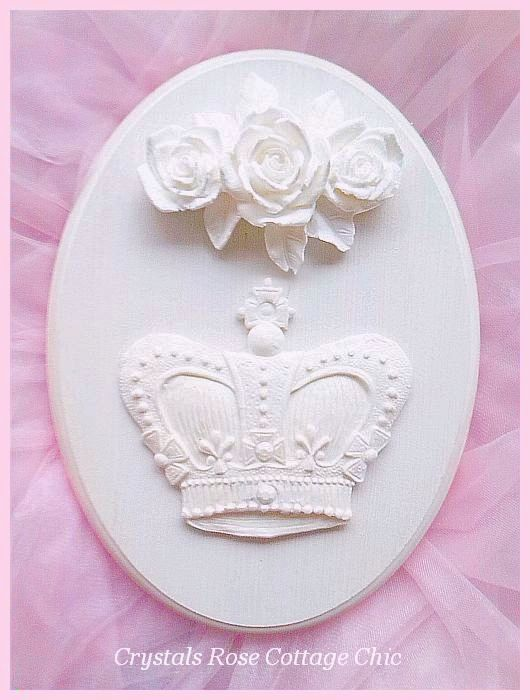 Shabby Rose British Chic Crown Oval Plaque...Color Choices