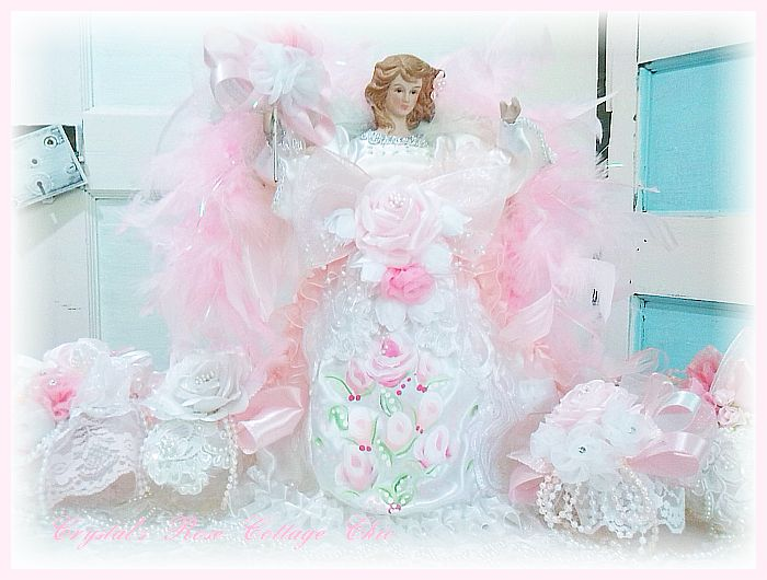 Pink Painted Roses Angel Tree Topper