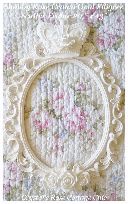 Shabby Rose Crown Oval Filigree Scatter Frame ...Color Choices