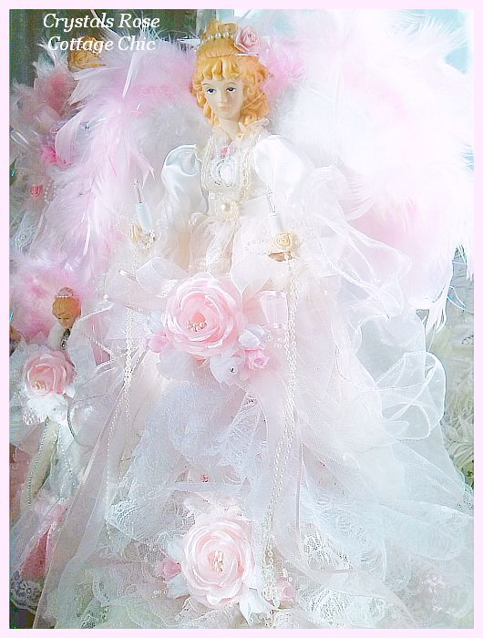 Bella Rose and Lace Pink Angel Tree Topper
