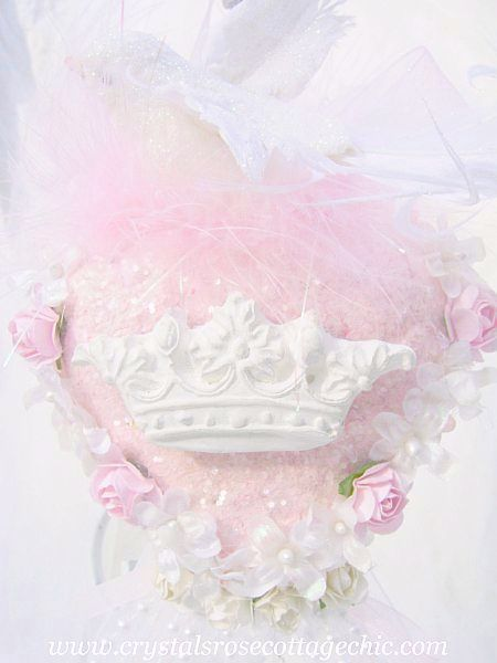 Shabby Chic Pink Heart Dove with Roses and Crown Ornament/Hanging Decor