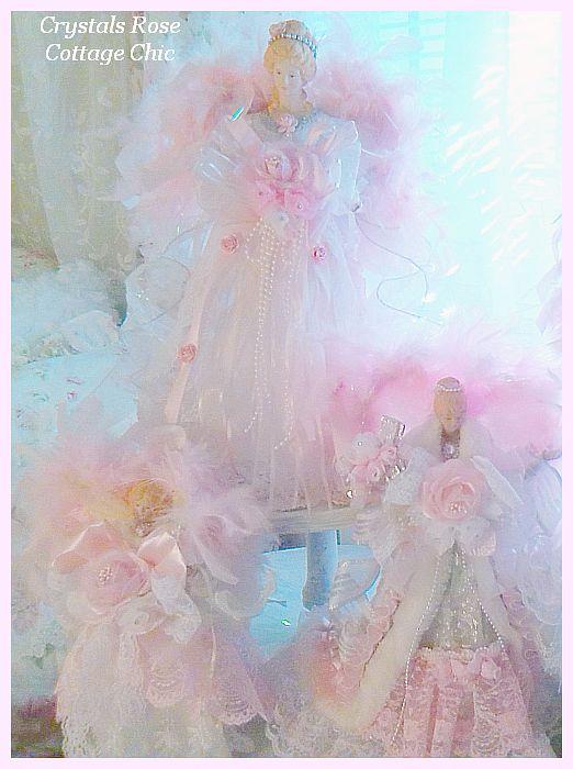 Sweet Shabby Pink Angel Tree Topper