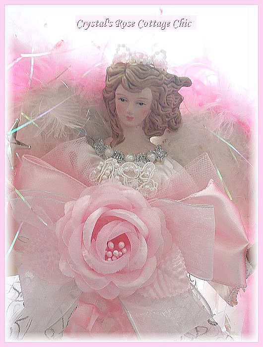 Double Rose Pink Princess Angel Tree Topper