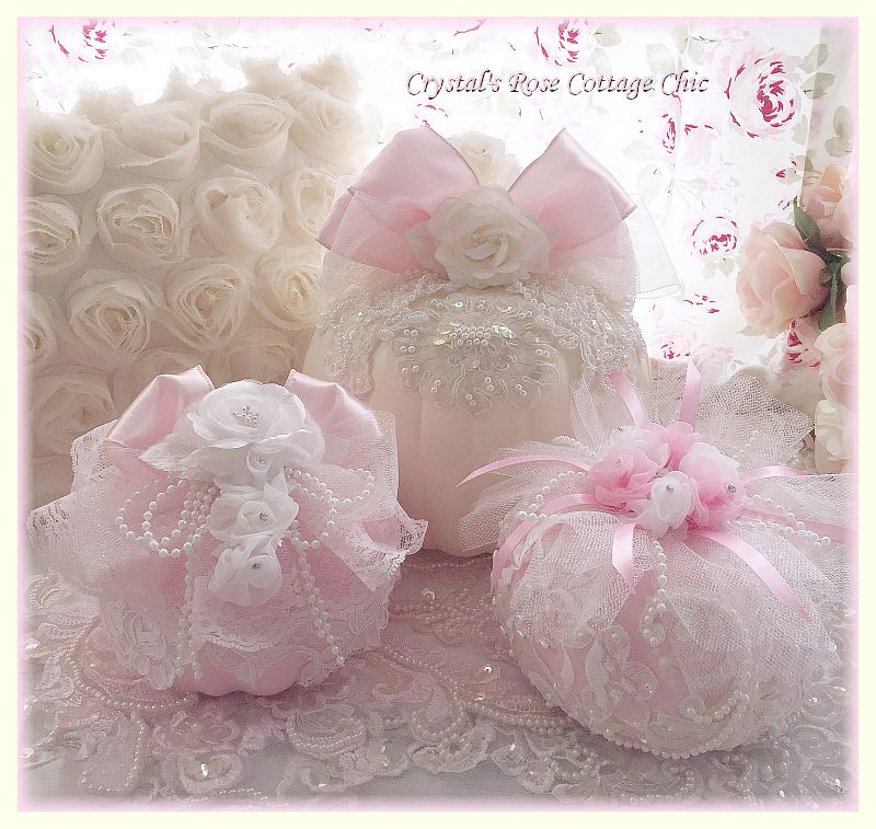 Pink Ribbons, Roses and Lace Pumpkin