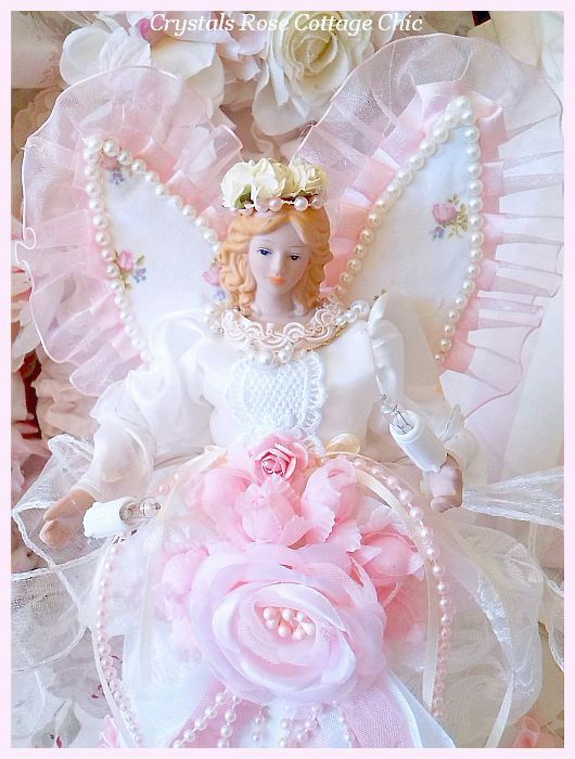 Shabby Chic Pink Rose Angel Tree Topper