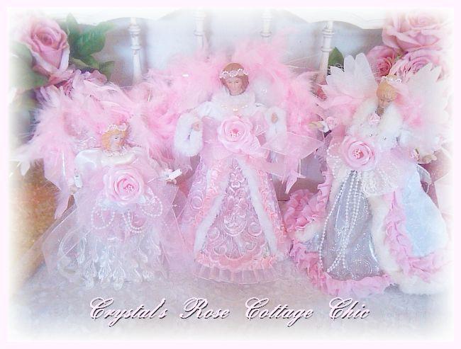 Shabby Chic Pink Angel Christmas Tree Topper Decor