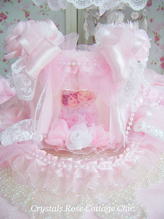 Shabby Chic Pink Cherub Candle Set